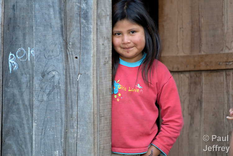 A girl in Lote 75, an indigenous neighborhood of Enmarcacion, in the Chaco region of Argentina.