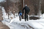Riding snowbanks in Marquette, Michigan, 2013