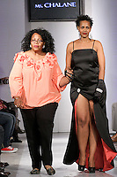 Ms. Chalane fashion designer, walks runway with model at the close of the Ms. Chalane Spring Summer 2012 collection fashion show, during BK Fashion Weekend Spring Summer 2012.