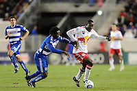 Ibrahim Salou (29) of the New York Red Bulls and Ugo Ihemelu (3) of FC Dallas. The New York Red Bulls defeated FC Dallas 2-1 during a Major League Soccer (MLS) match at Red Bull Arena in Harrison, NJ, on April 17, 2010.