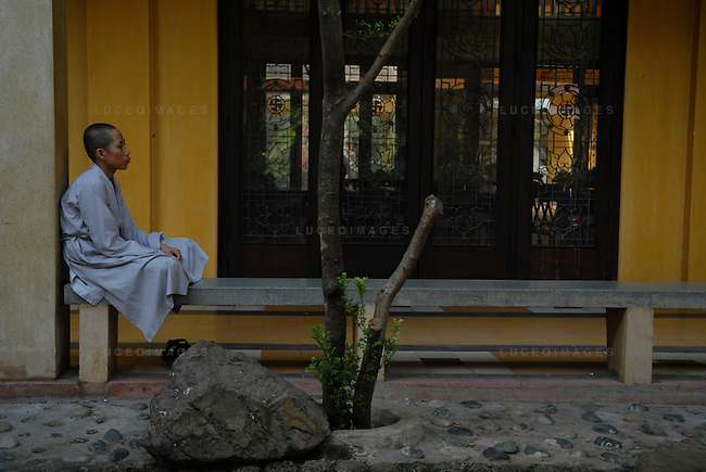 A Buddhist student at his pagoda in Ho Chi Minh City, Vietnam.