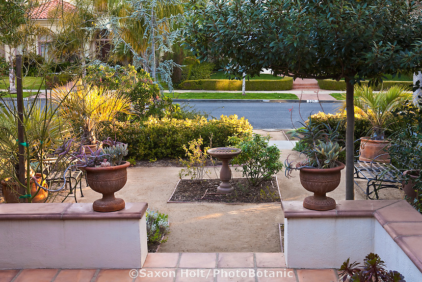 Crushed rock patio garden room in front yard Southern California native plant garden