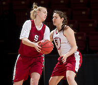Stanford, CA., March 25, 2013,--  Taylor Greenfield, Sara James, both with the Stanford women's basketball team workout during team practice Monday, March 25, 2013, for there second round NCAA 2013, basketball championship game against Michigan, at Maples Pavilion.  ( Norbert von der Groeben )