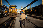 Union Pacific machinist Derrick Pierce walks through a UP maintenance yard in Roseville, Calif., November 8, 2011. Pierce has worked at Union Pacific for five years..CREDIT: Max Whittaker/Prime for The Wall Street Journal.HIRE