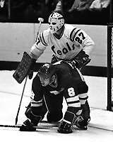 California Golden Seals goalie Gilles Meloche and Minnesota North Stars right Wing Bill Goldsworthy,<br />(1975 photo by Ron Riesterer)