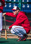 13 March 2014: Washington Nationals Manager Matt Williams watches his team take batting practice prior to a Spring Training game against the New York Mets at Space Coast Stadium in Viera, Florida. The Mets defeated the Nationals 7-5 in Grapefruit League play. Mandatory Credit: Ed Wolfstein Photo *** RAW (NEF) Image File Available ***