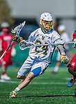18 April 2015:  University of Vermont Catamount Attacker Cam Milligan, a Sophomore from Peterborough, Ontario, in action against the University of Hartford Hawks at Virtue Field in Burlington, Vermont. The Cats defeated the Hawks 14-11 in the final home game of the 2015 season. Mandatory Credit: Ed Wolfstein Photo *** RAW (NEF) Image File Available ***