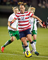 Lauren Cheney controls the ball in the first half. USWNT played played a friendly against Ireland at JELD-WEN Field in Portland, Oregon on November 28, 2012.