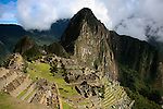 South America, Peru, Machu Picchu. The ancient citadel of Machu Picchu.