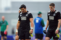 New Zealand U20 players look dejected after the match. World Rugby U20 Championship match between New Zealand U20 and Ireland U20 on June 11, 2016 at the Manchester City Academy Stadium in Manchester, England. Photo by: Patrick Khachfe / Onside Images