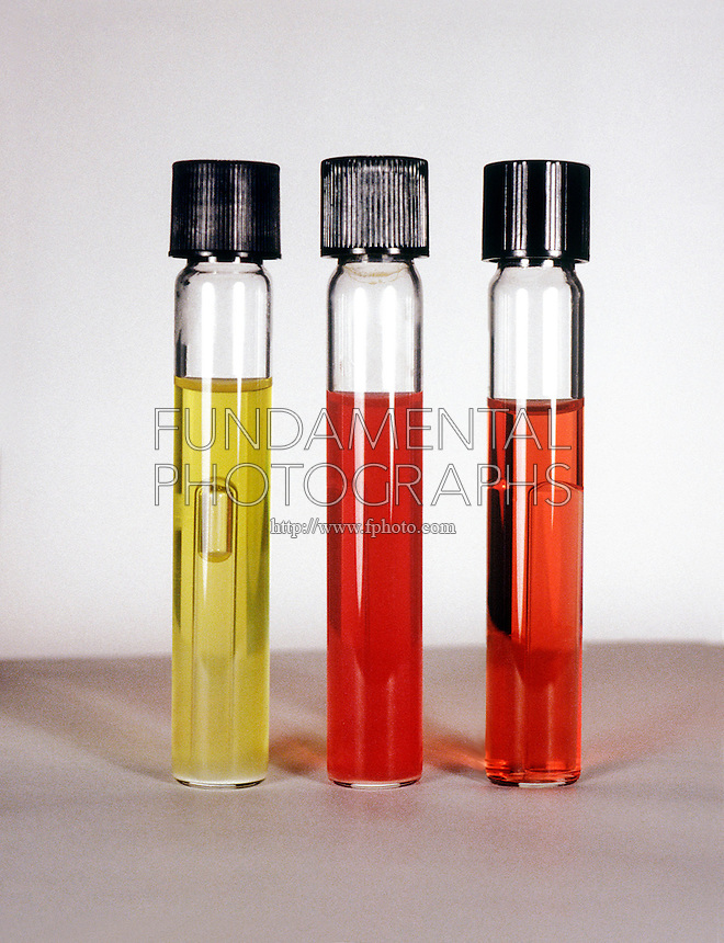 BIOCHEMICAL TESTS TO IDENTIFY BACTERIA<br /> Carbohydrate Fermentation<br /> In phenol red lactose broth tubes.(left) E. coli produces acid lowering the pH causing a color shift &amp; gas which causes bubble to form, (ctr) Alcaligenes faecalis is inert, the medium remains red, (rgt) uninoculated control