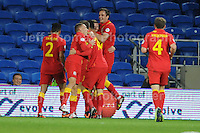 Cardiff City Stadium, Friday 11th Oct 2013. The Welsh players celebrate their goal during the Wales v Macedonia FIFA World Cup 2014 Qualifier match at Cardiff City Stadium, Cardiff, Friday 11th Oct 2014. All images are the copyright of Jeff Thomas Photography-07837 386244-www.jaypics.photoshelter.com