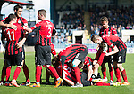 Dundee v St Johnstone...25.04.15   SPFL<br /> David Wotherspoon celebrates his goal with his team mates piling on top of him<br /> Picture by Graeme Hart.<br /> Copyright Perthshire Picture Agency<br /> Tel: 01738 623350  Mobile: 07990 594431
