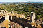 Arial View of Plazza Cisterna, San Gimignano - Tuscany - Chainti Italy
