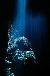 Milne Bay, Papua New Guinea; Light rays shining through the shallow water along the rocky shore , Copyright © Matthew Meier, matthewmeierphoto.com