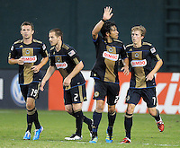 Philadelphia Union forward Carlos Ruiz (20) celebrates his score in the 84th minute of the game.  Philadelphia Union tied DC United 2-2, at RFK Stadium, Saturday July 2, 2011.