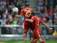 FUSSBALL   1. BUNDESLIGA  SAISON 2012/2013   2. Spieltag FC Bayern Muenchen - VfB Stuttgart      02.09.2012 Tor zum 5:1 durch Thomas Mueller mit Franck Ribery  (v. li., FC Bayern Muenchen)