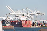 Hamburg Sud container ship Cap Henri is loaded at the Global terminal facility in Bayonne, New Jersey.