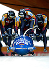 20 November 2005: Matthias Hoepfner leads the Germany 2 sled pushoff in the first run of the 2005 FIBT AIT World Cup Men's 4-Man Bobsleigh Tour, piloting the team to a 10th place finish at the Verizon Sports Complex, in Lake Placid, NY. Mandatory Photo Credit: Ed Wolfstein.
