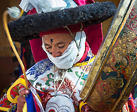 Monk  perform mystic mask dances (Chams). Chemrey Monastery or Chemrey Gonpa, Leh, Jammu and Kashmir, India