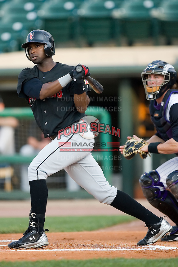 Indianapolis third baseman Yurendell de Caster (50) follows through on his swing Louisville at Louisville Bats Field in Louisville, KY, Wednesday, August 8, 2007.