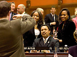 HARTFORD, CT- 03 JANUARY 07- 010307JT09-<br /> State Rep. Larry Butler, D-72nd District, poses for a photo with his daughter Alexandra, 17, and wife Jacqueline, on the opening day of the General Assembly's 2007 session on Wednesday at the Capitol in Hartford.<br /> Josalee Thrift Republican-American