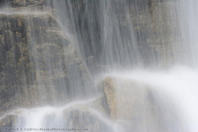 Waterfall near the border of Alaska and British Columbia along the Klondike Highway from Skagway Alaska to Whitehorse Canada.