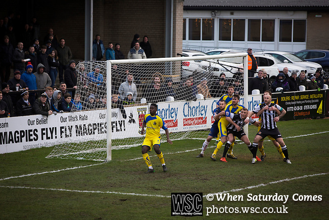 Chorley 2 Altrincham 0, 21/01/2017. Victory Park, National League North. The home team on the attack during the first-half at Victory Park, as Chorley played Altrincham (in yellow) in a Vanarama National League North fixture. Chorley were founded in 1883 and moved into their present ground in 1920. The match was won by the home team by 2-0, watched by an above-average attendance of 1127. Photo by Colin McPherson.