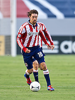 CARSON, CA - June 16, 2012: Chivas USA midfielder Blair Gavin (18) during the Chivas USA vs Real Salt Lake match at the Home Depot Center in Carson, California. Final score Real Salt Lake 3, Chivas USA 0.