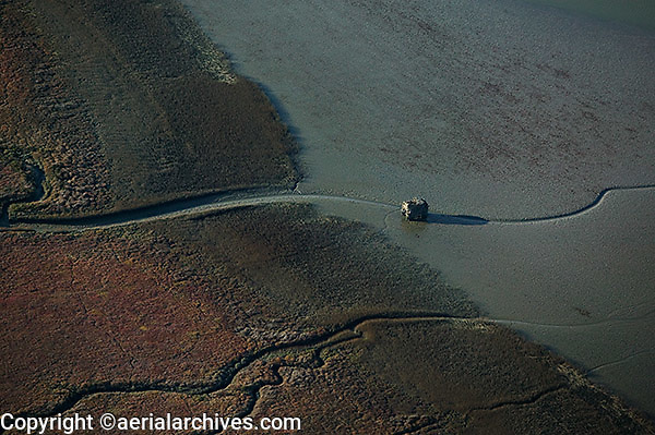 aerial photograph duck hunting shack Marin County, California