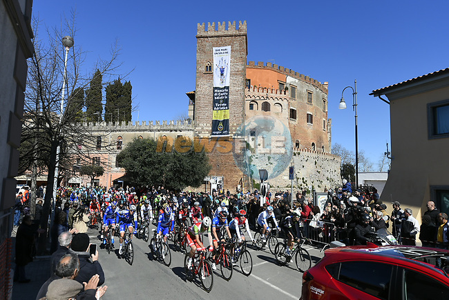 The start of Stage 4 of the 2017 Tirreno Adriatico running 187km from Montalto di Castro to Terminillo, Italy. 11th March 2017.<br /> Picture: La Presse/Fabio Ferrari  | Cyclefile<br /> <br /> <br /> All photos usage must carry mandatory copyright credit (&copy; Cyclefile | La Presse)