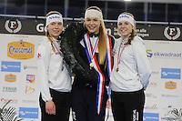 SCHAATSEN: HEERENVEEN: 04-02-2017, KPN NK Junioren, Podium Junioren A Dames, Joy Beune, Jutta Leerdam, Elisa Dul, ©foto Martin de Jong