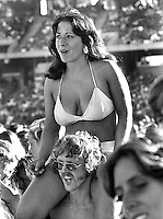 "Beach Boys concert..GIRL IN BIKINI inthe crowd at ..""Day on the Green"" at the Oakland Alameda County Coliseum. (1976 photo/Ron Riesterer)"