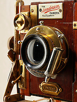 Sanderson tropical Half Plate wooden View Camera close up of lens and shutter