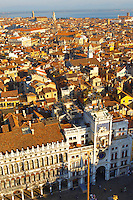 Arial View Of Bell Tower - Saint Mark's Square - Venice Italy.