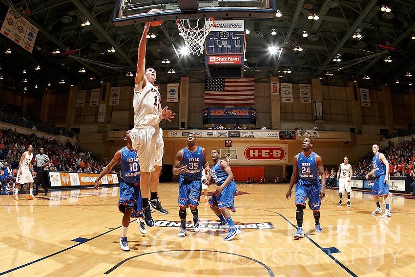 SAN ANTONIO, TX - MARCH 3, 2012: The University of Texas at Arlington Mavericks vs. The University of Texas at San Antonio Roadrunners Men's Basketball at the UTSA Convocation Center. (Photo by Jeff Huehn)
