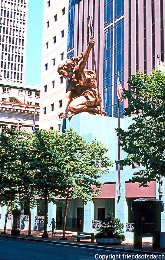 Michael Graves: Portland Building. Portlandia in sunlight. Sculpture by Raymond Kaskey. Photo '86.