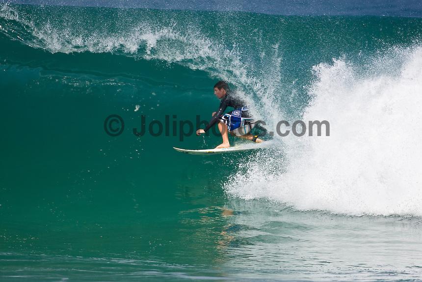 IAN WALSH (HAW) surfing at Off The Wall-Backdoor, North Shore of Oahu, Hawaii. Photo: joliphotos.com