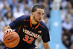 02 February 2015: Virginia's London Perrantes. The University of North Carolina Tar Heels played the University of Virginia Cavaliers in an NCAA Division I Men's basketball game at the Dean E. Smith Center in Chapel Hill, North Carolina. Virginia won the game 75-64.