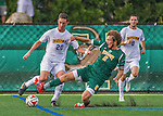 5 September 2014: La Salle University Explorers Forward Mike Liska, a Freshman from Hillsborough, NJ, battles University of Vermont Catamount Defender Brad Cole, a Senior from South Burlington, VT, at Virtue Field in Burlington, Vermont. The Catamounts, playing a man down for 66 minutes, defeated the visiting Explorers 2-1 on the first day of the Morgan Stanley Windjammer Classic Men's Soccer Tournament. Mandatory Credit: Ed Wolfstein Photo *** RAW (NEF) Image File Available ***