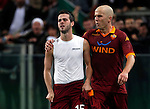Calcio, Serie A: AS Roma vs Torino. Roma, stadio Olimpico, 19 novembre 2012..AS Roma midfielder Miralem Pjanic, of Bosnia, celebrates with teammate Michael Bradley, of the United States, right, after scoring during the Italian Serie A football match between AS Roma and Torino at Rome's Olympic stadium, 19 November 2012..UPDATE IMAGES PRESS/Isabella Bonotto