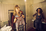 Linda McCartney Wing Tour 1973. Wardrobe designer Linda chooseing clothes to wear. 1970s UK