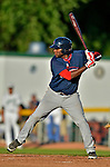 30 June 2012: Lowell Spinners outfielder Kendrick Perkins at bat against the Vermont Lake Monsters at Centennial Field in Burlington, Vermont. Mandatory Credit: Ed Wolfstein Photo