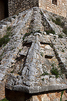 Temple of 7 Dolls, Detail of the corner of the platform supporting the central tower for celestial observations, shaped as a serpent, 5th-8th century, Dzibilchaltun, Yucatan, Mexico. Picture by Manuel Cohen