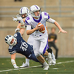 8 October 2016: Amherst College Purple & White Quarterback Nick Morales, a Sophomore from Seattle, WA, looks downfield for an open receiver during a game against the Middlebury College Panthers at Alumni Stadium in Middlebury, Vermont. The Panthers edged out the Purple & While 27-26. Mandatory Credit: Ed Wolfstein Photo *** RAW (NEF) Image File Available ***