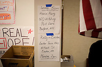 Information about campaign events hang on a wall at the Jon Huntsman New Hampshire campaign headquarters in Manchester, New Hampshire, on Jan. 7, 2012.  Huntsman is seeking the 2012 Republican presidential nomination.