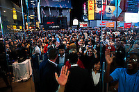 Customers arrive to the opening of Microsoft's store at Times Square in New York, October 25, 2012. . Photo by Eduardo Munoz Alvarez / VIEW.