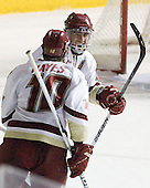 Jimmy Hayes (BC - 10) and Tommy Cross (BC - 4) celebrate Cross's goal which tied the game at 2 late in the second period. - The Boston College Eagles defeated the visiting University of Massachusetts-Lowell River Hawks 5-3 (EN) on Saturday, January 22, 2011, at Conte Forum in Chestnut Hill, Massachusetts.