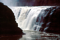 WATERFALL<br /> Potential &amp; Kinetic Energy<br /> New York state<br /> The water at the top of the waterfall has stored potential energy. Once the water leaves the top of the waterfall, the potential energy is changed into kinetic energy.