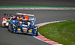 The Lucchini Judd #43 LMP2, Pierre Comblot-Maximo Cortes-Nil Montserrat, Team Q8 Oils Hache Team, in the double left corner in the last part of the race, Sunday, May 10, 2009, in Spa-Francorchamps, Belgium. Just in front of the Oreca AIM #11 and the Lola Mazda #39 (Valentin Bianchi/pressphotointl.com)